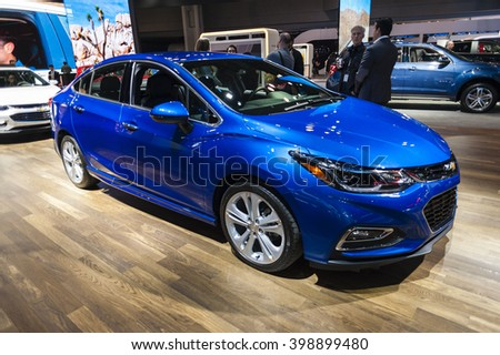 NEW YORK, USA - MARCH 23, 2016: Chevrolet Cruze on display during the New York International Auto Show at the Jacob Javits Center. - stock photo