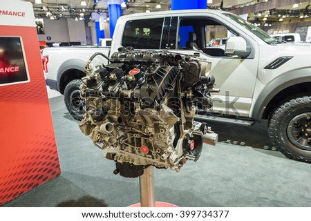 NEW YORK, USA - MARCH 24, 2016: Ford F-150 Raptor engine on display during the New York International Auto Show at the Jacob Javits Center.