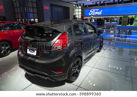 NEW YORK, USA - MARCH 23, 2016: Ford Fiesta ST on display during the New York International Auto Show at the Jacob Javits Center.