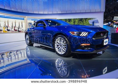 NEW YORK, USA - MARCH 23, 2016: Ford Mustang GT on display during the New York International Auto Show at the Jacob Javits Center.