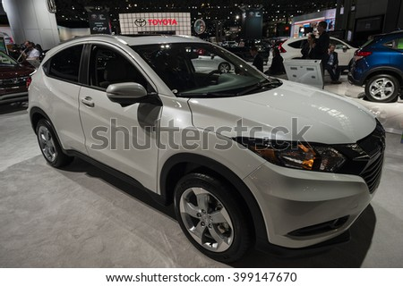 NEW YORK, USA - MARCH 23, 2016: Honda HR-V on display during the New York International Auto Show at the Jacob Javits Center.