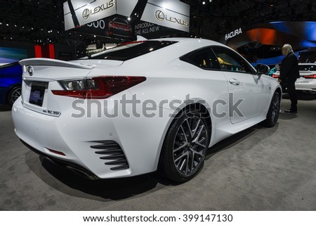 NEW YORK, USA - MARCH 23, 2016: Lexus RC 350 on display during the New York International Auto Show at the Jacob Javits Center.