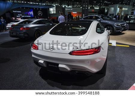 NEW YORK, USA - MARCH 23, 2016: Mercedes AMG GT S on display during the New York International Auto Show at the Jacob Javits Center.