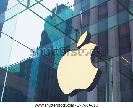 NEW YORK, USA - MARCH 26: On Fifth Avenue largest and the most expensive street of New York, the flagman branded shop Apple Store settled down on March 26, 2014 in New York, USA - stock photo