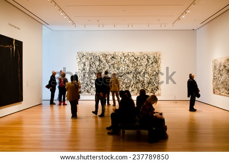 """NEW YORK, USA - MARCH 26: Picture of the artist of Jackson Pollock """"Number 31"""" in Museum of Modern Art on March 26, 2014 in New York, USA - stock photo"""