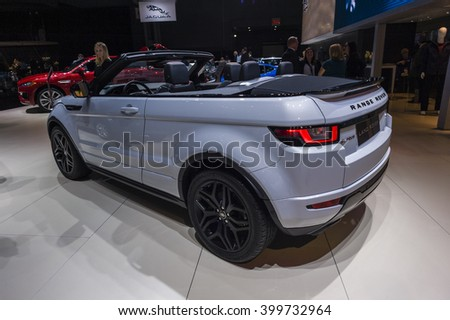 NEW YORK, USA - MARCH 24, 2016: Range Rover Evoque convertible on display during the New York International Auto Show at the Jacob Javits Center.