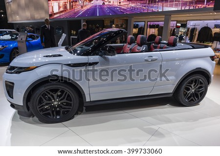 NEW YORK, USA - MARCH 24, 2016: Range Rover Evoque convertible on display during the New York International Auto Show at the Jacob Javits Center. - stock photo