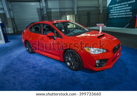 NEW YORK, USA - MARCH 24, 2016: Subaru WRX on display during the New York International Auto Show at the Jacob Javits Center.