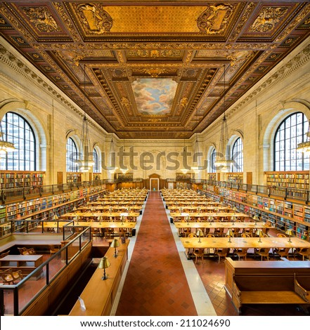 NEW YORK, USA - MARCH 14: Symmetrical composition of the historical Rose Main Reading Room in New York Public Library NYPL , on March 14, 2014 in New York, USA. - stock photo