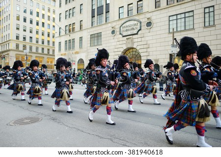 NEW YORK, USA - MARCH 17, 2015: The annual St. Patrick's Day Parade along fifth Avenue in New York City, USA