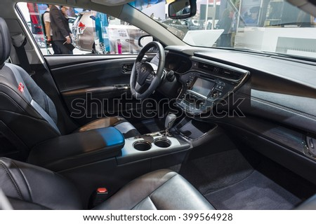 NEW YORK, USA - MARCH 23, 2016: Toyota SEMA Edition TRD Avalon interior on display during the New York International Auto Show at the Jacob Javits Center.