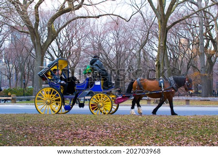 NEW YORK, USA - MARCH 26: Unknown people in the central park. Central Park is the most visited park in the USA on March 26, 2014 in New York, USA  - stock photo