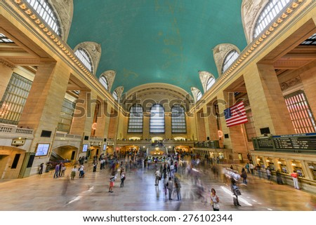 NEW YORK, USA - May 7, 2015: Main lobby at Grand Central Terminal in New York City on a work day. Grand Central Terminal is the largest train station in the world by number of platforms. - stock photo