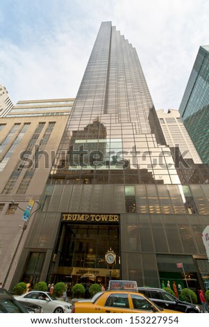 NEW YORK, USA, MAY 7, 2013. Taxis and cars passing by at The Trump World Tower in midtwon Manhattan. This icon is located between Fifth Ave and 56th street. Taken on May 7th of 2013, in NYC, USA. - stock photo