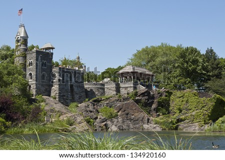NEW YORK, USA - MAY 17: The Belvedere Castle in Central Park on May 17, 2012 in New York. Belvedere Castle offer wonderful panoramic views that include some of Central Park's most famous landmarks. - stock photo