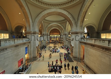 NEW YORK, USA - May. 30. 2014: The Great Hall, lobby of Metropolitan Museum of Art, New York City, USA. The Met is a NYC landmark and largest art museum in USA