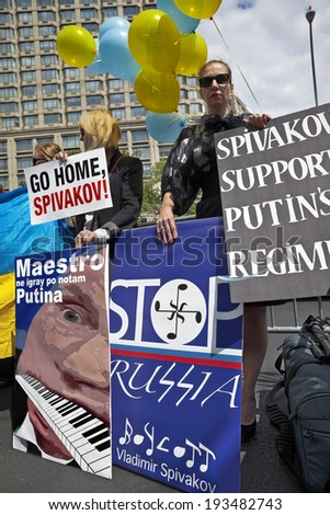 New York, USA -  May 18, 2014;  Ukrainian activists at Lincoln Center protest under the slogan: NEW YORK BOYCOTTS SPIVAKOV!!- Artist Who Supports Putin's Regime