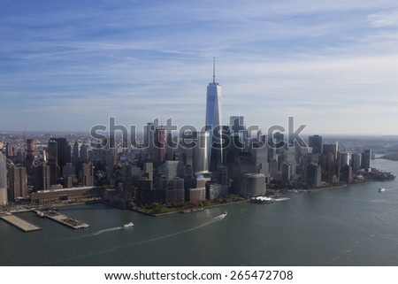 New York. USA. NOV, 9, 2014: Helicopter view of lower Manhattan Skyline on November