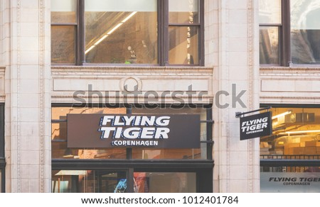 New York, USA, november 2016: facade of the Flying Tiger store sign in Manhattan, New York