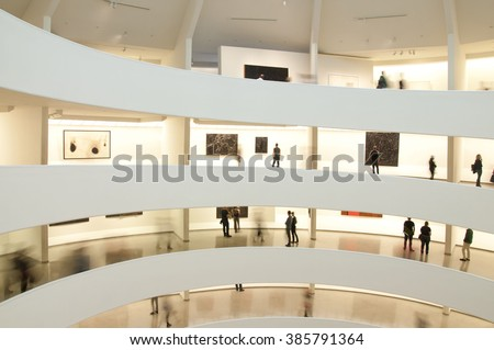 NEW YORK, USA - NOVEMBER 2015: The Solomon R. Guggenheim Museum is one of the most important museums in the world in the field of modern and contemporary art  USA on November 7, 2015. - stock photo