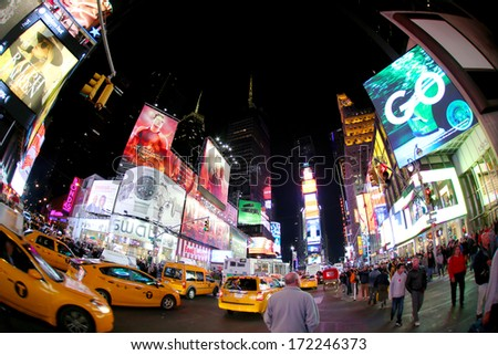 NEW YORK, USA - NOVEMBER 10: Times Square wide view. November 10, 2013 in New York, USA..