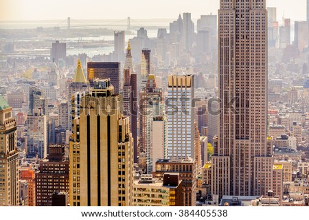 NEW YORK, USA - OCT 6, 2015: Aerial view over Manhattan from the Rockfeller Center (Top of the Rock). One of the popular observation points of New York