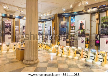 NEW YORK, USA - OCT 8, 2015: Interior of the Federal Hall National Memorial (old Federal Hall),  the place where the United States Bill of Rights was introduced in the First Congress