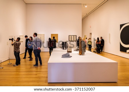 NEW YORK, USA - OCT 8, 2015: Interior of the Museum of Modern Art (MoMA), an art museum, Midtown Manhattan, New York. It was established on November 7, 1929