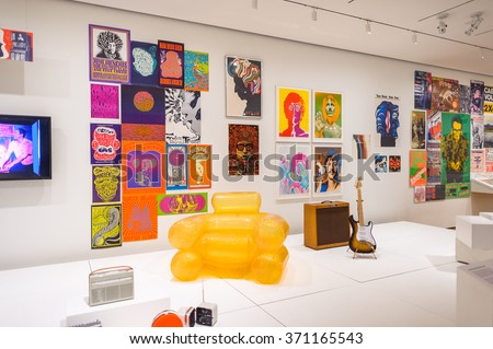 NEW YORK, USA - OCT 8, 2015: Music exhibition at  the Museum of Modern Art (MoMA), an art museum, Midtown Manhattan, New York. It was established on November 7, 1929