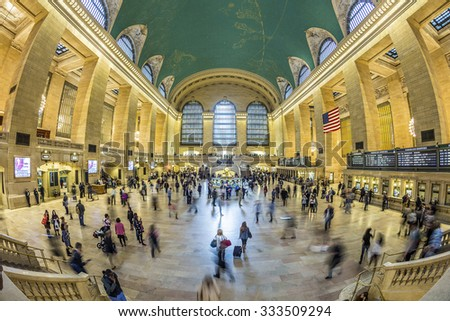 NEW YORK, USA - OCT 22, 2015: people at Grand Central Terminal, New York City which was first build in 1871. This is the largest subway terminal by number of platforms.
