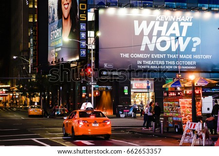 NEW YORK, USA - OCT 4: The busy streets around Time Square in Manhattan, New York, USA on Oct 4, 2016.