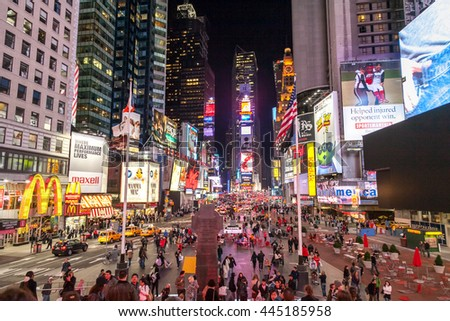 NEW YORK, USA - OCTOBER 1, 2009: Famous Times square in the middle of  Manhattan, New York, USA - stock photo