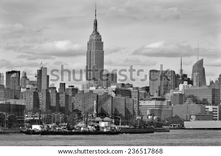NEW YORK USA OCTOBER 27: Midtown and the Chrysler building on October 27, 2013 in New York, was the world's tallest building before it was surpassed by the Empire State Building in 1931.  - stock photo