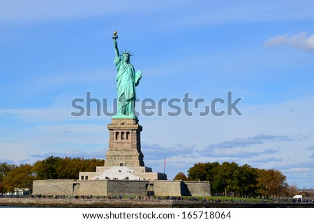 NEW YORK USA OCTOBER 27: Statue of Liberty, in New York City, NY, on October 27, 2013. The statue of Liberty was a gift from people of France to the United States in 1886 - stock photo