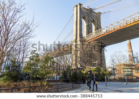 NEW YORK, USA, on MARCH 7, 2016. Urban view. Brooklyn Bridge, fragment