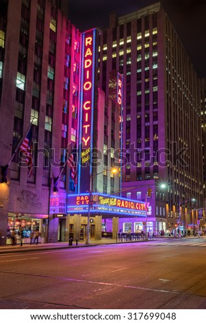 New York, USA on 3rd Sept 2015: Radio City Music Hall is an entertainment venue located in Rockefeller Center in New York City,. Its interior was declared a city landmark in 1978 - stock photo