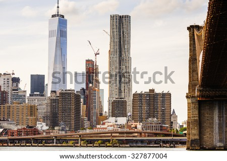 NEW YORK, USA - SEP 25, 2015: Architecture of Manhattan, New York City, USA. New York is the most populous city in the United States of America