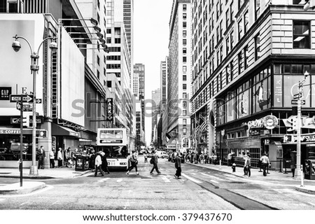 NEW YORK, USA - SEP 22, 2015: Architecture of the Broadway street. It is the oldest north south main thoroughfare in New York City