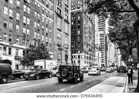 NEW YORK, USA - SEP 22, 2015: Architecture of the Eighth avenue (Manhattan). 8 avenue begins in the West Village neighborhood at Abingdon Square