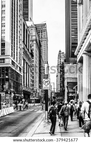 NEW YORK, USA - SEP 22, 2015: Architecture of the Lower Manhattan (Downtown). Downtown  was originated at the southern tip of Manhattan Island in 1624