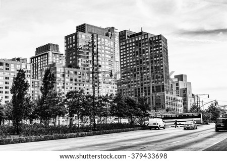 NEW YORK, USA - SEP 22, 2015: Architecture of the Lower Manhattan (Downtown). It was originated at the southern tip of Manhattan Island in 1624