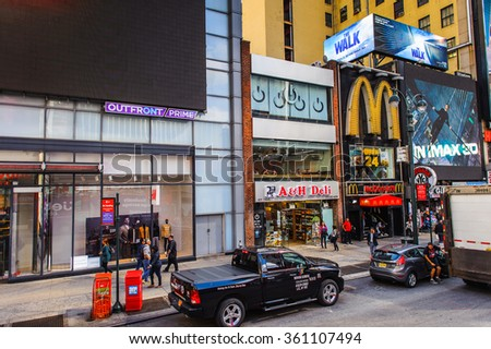NEW YORK, USA - SEP 25, 2015: Architeture of Manhattan, New York City, USA. New York is the most populous city in the United States