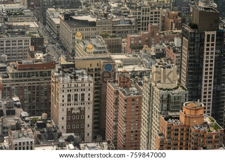 NEW YORK, USA - SEP 17, 2017: Beautiful view of Manhattan from above, New York, NY, United States of Americs