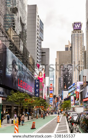 NEW YORK, USA - SEP 22, 2015: Billboards and posters at the Times Square, a major commercial neighborhood in Midtown Manhattan, New York City