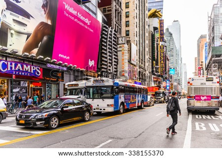 NEW YORK, USA - SEP 22, 2015: Billboards on the 42nd street (Manhattan), major crosstown street in the New York City borough of Manhattan, known for its theaters