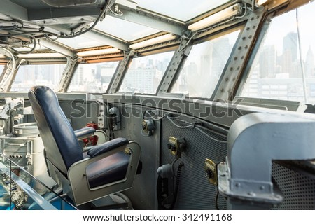 NEW YORK, USA - SEP 25, 2015: Cabin of the USS Intrepid (The Fighting I), one of 24 Essex-class aircraft carriers built during World War II for the United States Navy