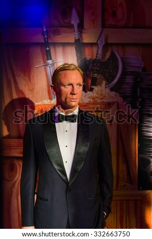 NEW YORK, USA - SEP 22, 2015: Daniel Craig in the Madame Tussaud  wax museum, TImes Square, New York City. Marie Tussaud was born as Marie Grosholtz in 1761 - stock photo