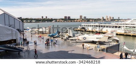 NEW YORK, USA - SEP 25, 2015: Deck of USS Intrepid (The Fighting I), one of 24 Essex-class aircraft carriers built during World War II for the United States Navy (Intrepid Museum)