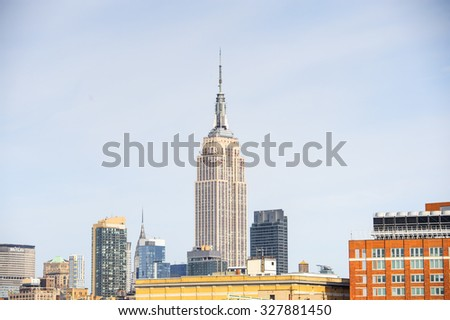 NEW YORK, USA - SEP 25, 2015: Empire State building in Manhattan, New York City, USA. New York is the most populous city in the United States of America