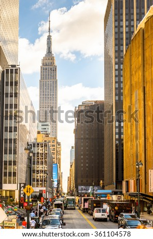 NEW YORK, USA - SEP 25, 2015: Empire state building,  Manhattan, New York City, USA. New York is the most populous city in the United States - stock photo